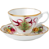 Royal Albert Old Country Roses Christmas Tree Teacup and Saucer