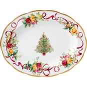 Royal Albert Old Country Roses Christmas Tree Medium Oval Platter
