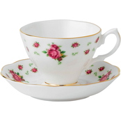 Royal Albert New Country Roses White Formal Teacup and Saucer