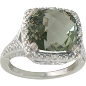 Sterling Silver Green Amethyst Ring with Diamond Accents