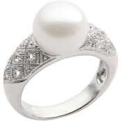 Imperial Sterling Silver 10-10.5mm Cultured Freshwater Pearl and White Topaz Ring