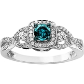 10K White Gold 1/2 CTW Blue and White Diamond Bridal Ring
