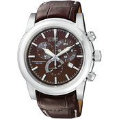 Citizen Men's Eco Drive Chronograph with Brown Strap