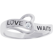 Sterling Silver Love Waits Heart Ring with Diamond Accent