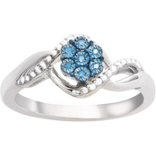 Sterling Silver 1/10 CTW Blue and White Diamond Fashion Ring