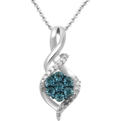 Sterling Silver 1/10 CTW Blue and White Diamond Pendant
