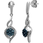 Sterling Silver 1/10 CTW Enhanced Blue and White Diamond Earrings