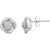 Sterling Silver 1/10 CTW Diamond Textured Earrings