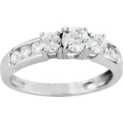 14K White Gold 1 CTW 3 Diamond Plus Engagement Ring