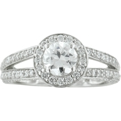 14K White Gold 11/2 CTW Halo Style Diamond Engagement Ring