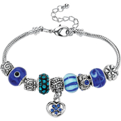 PalmBeach Round Blue Crystal Silvertone Bali-Style Beaded Charm and Spacer Bracelet