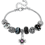 PalmBeach Black Crystal Silvertone Bali-Style Charm and Spacer Bracelet