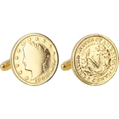 24K Gold-Layered Liberty Nickel Cufflinks