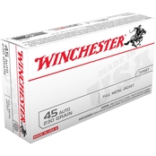 Winchester USA .45 ACP 230 Gr. FMJ, 50 Rounds