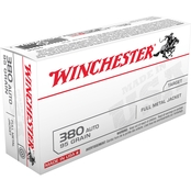 Winchester USA .380 ACP 95 Gr. FMJ, 50 Rounds