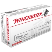 Winchester USA 9mm 115 Gr. FMJ, 50 Rounds