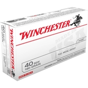Winchester USA .40 S&W 180 Gr. FMJ, 50 Rounds