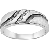 Sterling Silver Band with Diamond Accents