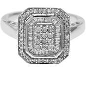 Sterling Silver 1/2 ct. TDW Round and Baguette Diamond Ring