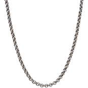 Black & Blue Stainless Steel Rolo Chain Necklace, 24 in.