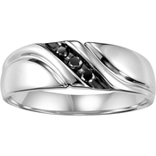 Sterling Silver 1/10 ct. Black Diamond Band
