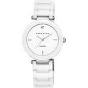 Anne Klein Women's Diamond Dial White Ceramic Bracelet Watch 33mm 5729700