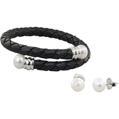 Honora Sterling Silver Black Leather Cuff Bracelet and Pearl Earrings Set
