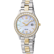 Seiko Women's Solar Two-Tone Watch With Mother Of Pearl Dial 28mm SUT074
