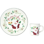 Winterberry Cookies and Milk for Santa Set by Pfaltzgraff