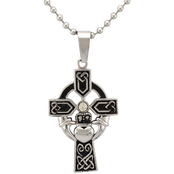 Stainless Steel Celtic Cross Pendant with Diamond Accent