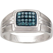 Sterling Silver 1/4 CTW Blue Diamond Ring