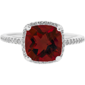 Sterling Silver Diamond and Garnet Ring