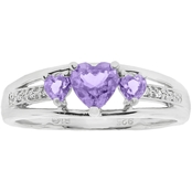 Sterling SilverAmethyst Heart Birthstone Ring with Diamond Accents - February
