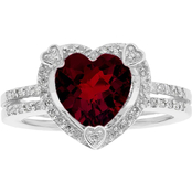 Sterling Silver Garnet Birthstone Ring with Diamond Accents - January