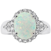 Sterling Silver Created Opal and White Topaz Ring