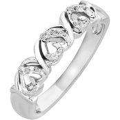 Jessica Simpson Sterling Silver Hearts Fashion Ring with Diamond Accents, Size 7