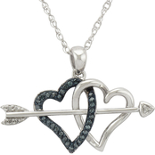 Sterling Silver 1/10 CTW Blue Diamond Double Heart and Arrow Pendant