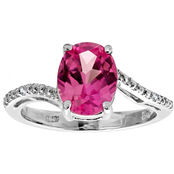 Sterling Silver Created Pink Sapphire Ring with Diamond Accents