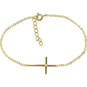 PalmBeach 14K Yellow Gold and Stainless Steel Cubic Zirconia Horizontal Cross Charm Bracelet