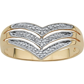 PalmBeach 10K Yellow Gold Chevron Ring with Diamond Accents, Size 9