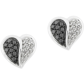 Sterling Silver 1/3 CTW Black and White Diamond Heart Earrings