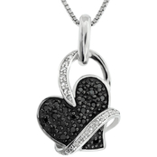 Sterling Silver 1/5 CTW Black and White Diamond Pendant