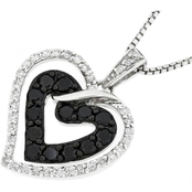 Sterling Silver 2/3 CTW Black and White Diamond Heart Pendant