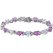 Sterling Silver Opal, Created Pink Sapphire and Diamond Accents Bracelet