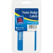 Avery Self Adhesive Name Badge Labels with Blue Border, 25 pk.