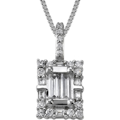 14K White Gold 1/2 ct. TDW Diamond Rectangle Pendant