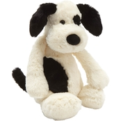 Jellycat Medium Bashful Black And Cream Puppy Stuffed Toy