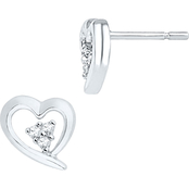 10K White Gold Diamond Accent Heart Earrings