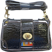 Dezine News Accessories Vintage Shiny Croco Cell Zip Around Crossbody