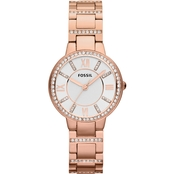 Fossil Women's Virginia Three Hand Rose Goldtonel 30mm Watch ES3284